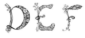 Vector met krabbelhand geschreven DEF brieven die wordt geplaatst royalty-vrije illustratie