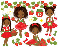 Vector met Leuke Kleine Afrikaanse Amerikaanse Meisjes en Aardbeien wordt geplaatst die vector illustratie