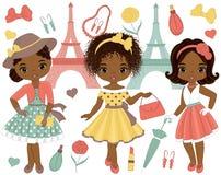 Vector met Leuke Kleine Afrikaanse Amerikaanse Meisjes in Retro Stijl en de Toren die van Eiffel wordt geplaatst vector illustratie