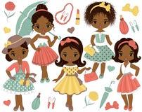 Vector met Leuke Kleine Afrikaanse Amerikaanse Meisjes in Retro Stijl wordt geplaatst die vector illustratie