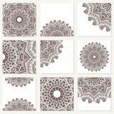 Vector met mandala wordt geplaatst die Achtergrond abstract cirkelornament Decoratief retro element Uitnodigingskaart op huwelijk Royalty-vrije Stock Afbeeldingen