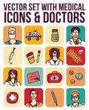 Vector met medische pictogrammen en artsen wordt geplaatst die Stock Fotografie