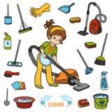 Vector met meisje en voorwerpen voor het schoonmaken wordt geplaatst die Kleurrijke punten vector illustratie