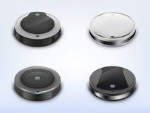 Vector met ronde robotachtige stofzuigers wordt geplaatst die vector illustratie