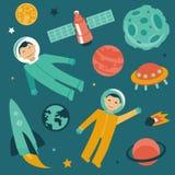 Vector met ruimte en planetenpictogrammen dat wordt geplaatst Stock Afbeelding