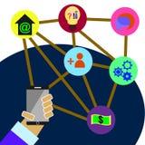 Vector met technologie op telefoon Stock Foto's