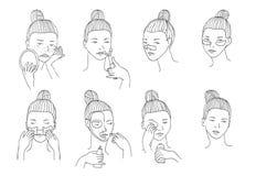 Vector met vrouwenhoofd wordt geplaatst in verschillende voorwaarden, stemming en hoek die De kosmetiekprocedures zoals behandeli Stock Afbeelding