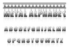 Vector metal alphabet with bolts and scratches Stock Image