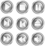 Vector metal audio buttons Royalty Free Stock Photography