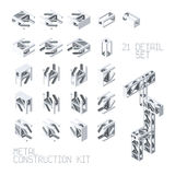 Vector metal construction set in isometric style Stock Photo