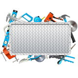 Vector Metal Frame with Hand Tools Stock Photography