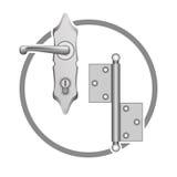 Vector metall door accessories. Symbols or elements Royalty Free Stock Images