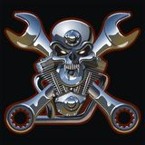 Vector metall skull with engine Royalty Free Stock Image