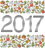 Vector metallic numbers 2017. And Christmas, and New Year objects Stock Photo