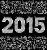 Vector metallic numbers 2015. Vector diamond numbers 2015 and Christmas and New Year objects Stock Images