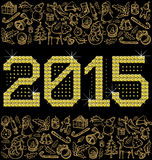 Vector metallic numbers 2015. Vector diamond numbers 2015 and Christmas and New Year objects Stock Photography