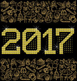 Vector metallic numbers 2017. Vector diamond numbers 2017, and Christmas, and New Year objects Stock Images