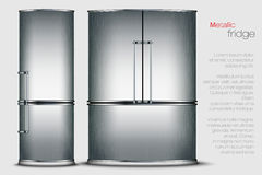 Vector metallic refrigerator Royalty Free Stock Images