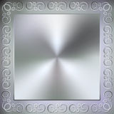 Vector metallic square background with frame and Stock Photo