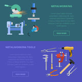 Vector metalworking concept. Vector metalworking icons, concept. Metal cutting milling grinding lathe work metal tools Stock Photo