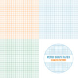 Vector metric graph paper seamless patterns set. 1mm grid accented every centimeter Royalty Free Stock Image