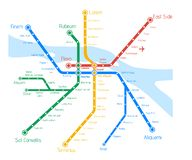 Vector Metro map with river. Abstract product advertising templa vector illustration