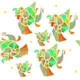 Vector Mexicaans groen papegaaien naadloos patroon, bruine aquamrine, lichtgroen, oranje, rood, stock illustratie