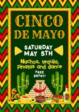 Vector Mexican Cinco de Mayo party fiesta flyer. Cinco de Mayo Mexican holiday party or fiesta invitation entry flyer design template. Vector design of Mexico Stock Photos