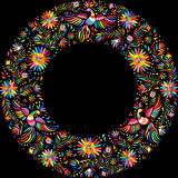 Vector Mexican embroidery round frame pattern Royalty Free Stock Photo
