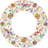Vector Mexican embroidery round frame pattern Stock Images