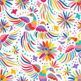 Vector Mexican embroidery seamless pattern. Mexican embroidery seamless pattern. Colorful and ornate ethnic pattern. Birds and flowers light background. Floral Stock Photos