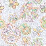 Vector Mexican embroidery seamless pattern. Mexican embroidery seamless pattern. Colorful and ornate ethnic pattern. Birds and flowers light background. Floral Stock Images
