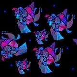 Vector mexican parrots seamless pattern,blue, violet, lilac, fuchsia, gray, plain black background stock illustration