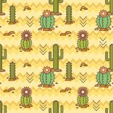 Vector Mexican pattern of cacti. Linear illustration. vector background Stock Photography