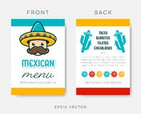 Vector mexican restaurant menu template on white vector illustration
