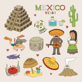 Vector Mexico Doodle Art for Travel and Tourism Royalty Free Stock Photos