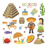 Vector Mexico flat style art for travel and tourism Royalty Free Stock Photo