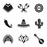 Vector Mexico icon set Royalty Free Stock Photography