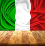 Vector Mexico Italy flag realistic silk drape. Realistic silk mexican or italian flag on wooden flooring. Waving mexico italy state symbol. National country 3d stock illustration