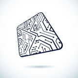 Vector microchip design, cpu. Information communication technolo Royalty Free Stock Image