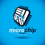 Vector microchip design, cpu. Information communication technolo Stock Image