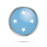 Vector Micronesian flag button. Micronesia in glass button style. Federated States of Micronesia flag glass button style with metal frame Royalty Free Stock Photography