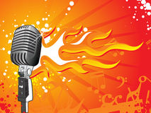 Vector microphone on flame background Royalty Free Stock Photography
