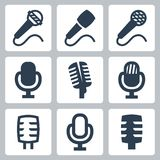 Vector microphone icons set Royalty Free Stock Photos