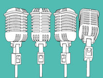 Vector microphone set illustration Stock Photos