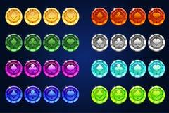 Vector microplaquetas das cores do pôquer, elemento do jogo do recurso ilustração stock