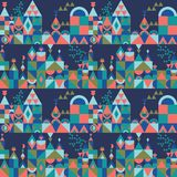 Vector mid century modern minimalistic village in Pantone`s color of the year seamless pattern. Vector colorful village seamless pattern background. Perfect for vector illustration