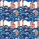 Vector mid century modern minimalistic village in Pantone`s color of the year seamless pattern. Vector colorful village seamless pattern background. Perfect for stock illustration