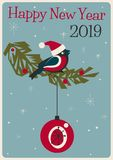 merry christmas and happy new year vintage greeting card vector illustration