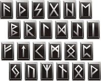Vector Middeleeuwse runen- alfabetten van Germaanse talen Stock Foto
